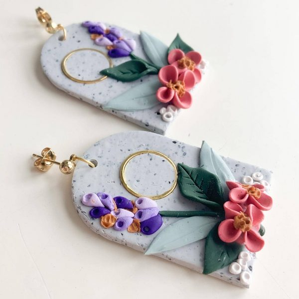 Spring Polymer Clay Arch Earrings