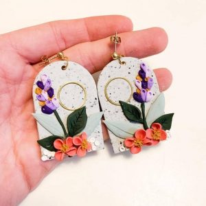 Floral polymer clay earrings 3 1