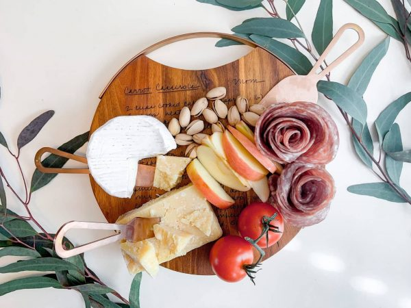Custom Engraved Recipe Cheese Board with Knife Set