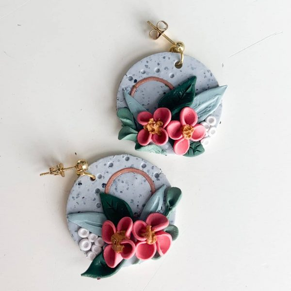 Granite and Floral Circle Polymer Clay Earrings