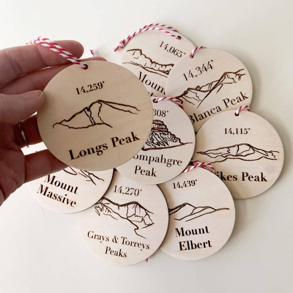 Colorado 14ers personalized Christmas ornaments